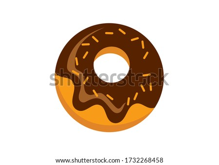 Donut with chocolate icing icon. Chocolate donut illustration. Doughnut icon isolated on a white background. American delicacy food illustration