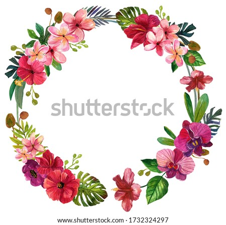 Watercolor Tropical flowers wreath Clip Art,Tropic Palm Leaf,Plumeria,orchid,Hawaii bouquets,Border,wedding stationary, greetings,wallpapers, fashion,template,postcards.Isolated on white backgrounds
