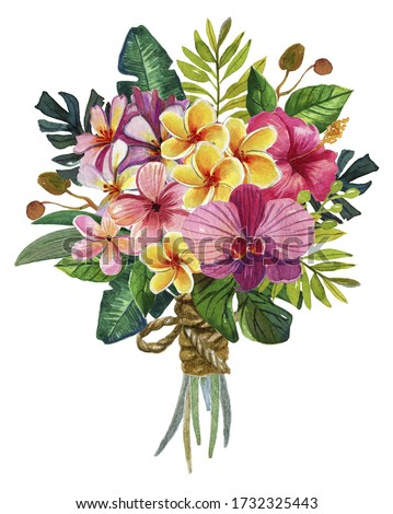 Watercolor Tropical flowers bouquet Clip Art,Tropic Palm Leaf,Plumeria,orchid,Hawaii bouquets,wedding stationary, bridal,greetings,invitation template,florist postcards.Isolated on white backgrounds