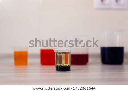 Density and immiscibility of liquids experiment. beakers with laboratory reagents Royalty-Free Stock Photo #1732361644