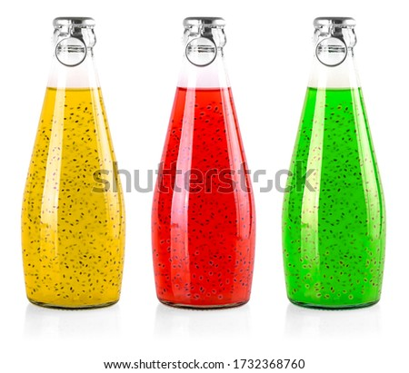 The set of colored drinks with basil seeds or falooda seeds or tukmaria in bottles on white background #1732368760