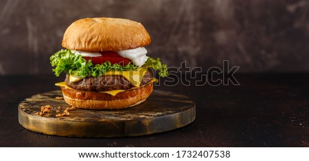 Double cheeseburger with lettuce, tomato and melted cheese on wooden board. Long wide banner #1732407538