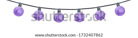 Water colour illustration of decorative violet string lights. One single object, simple shape. Hand drawn watercolour graphic painting on white backdrop, cutout clip art element for design decoration.