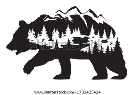 vector illustration of a bear fantasy background. bear with mountains and forest silhouette. wilderness, nature abstract. Royalty-Free Stock Photo #1732425424