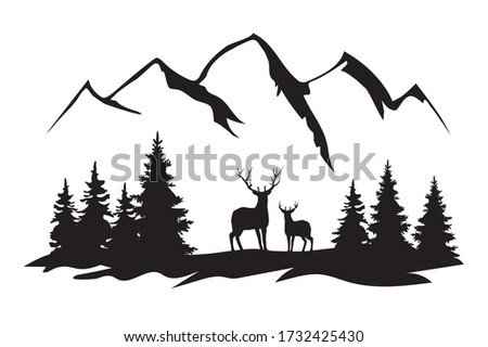 vector illustration of mountains, forest,deer. travel, camping, nature, wilderness background.  Royalty-Free Stock Photo #1732425430