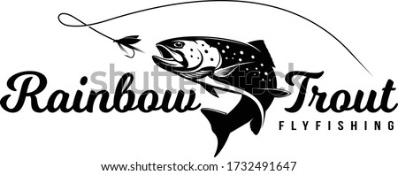 Rainbow Trout logo, Unique And Fresh Rainbow Trout fish jumping out of the water, Great for your rainbow fishing activity.