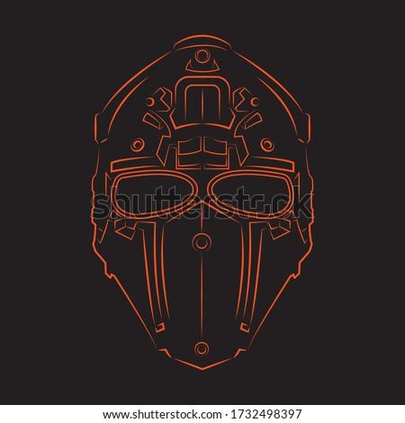 Mascara airsoft line art illustration