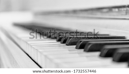 Close up white piano keyboard. Music instrument. Black and white key. Play sound, chord, melody. Classical, musical art. Jazz performance, entertainment. Musician background. Classic note harmony.