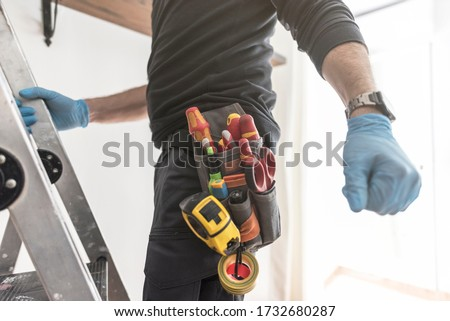 Blueprint of handyman belt tools ready to work #1732680287