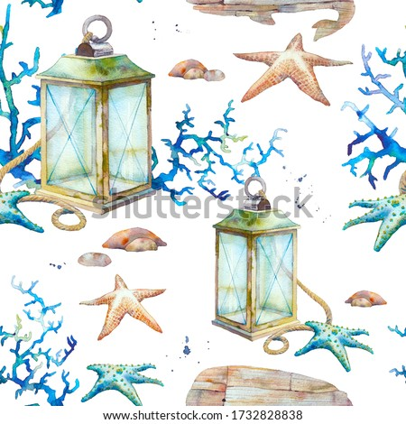Watercolor nautical wallpaper. Vintage sea decor seamless pattern. Lantern, coral, stones, wooden whale texture.