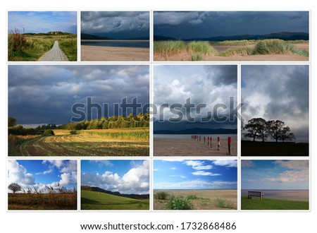 Beautiful collage of different sunny summer autumn pictures of British landscapes. Fields, trees, sea, hillside, forest, dramatic blue cloudy sky and light while weather changing.