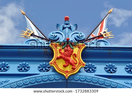 Heraldry & Flags on Preserved Cast Iron Ornamental Gate from Old  18th Century Foundry #1732883309