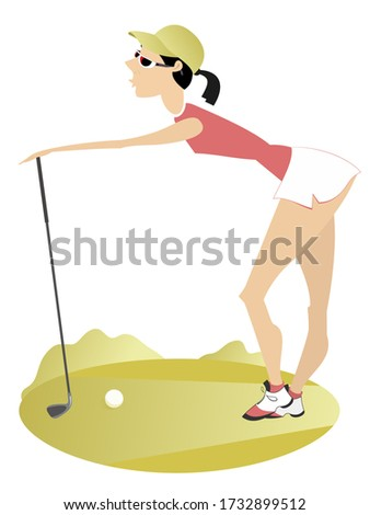 Young woman on the golf course illustration. Pretty young woman golfer holds a golf club