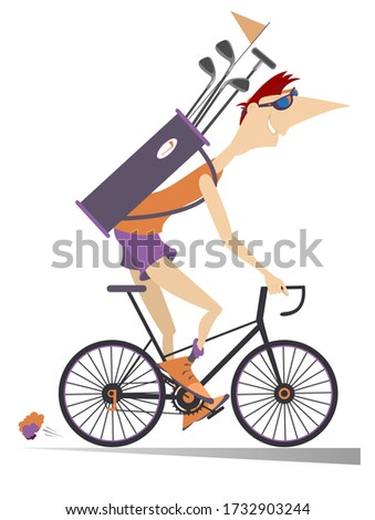 Young man rides the bike and goes to play golf illustration. Smiling young man on the bike with a bag full of golf clubs is on the way to the golf course isolated on white