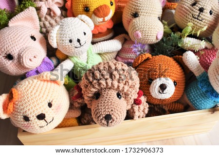 Animal crochet background. Cute toy for kid. Dog crochet. Sheep crocheting. Lion knitting. Woolen lamb. Pig crochet. Soft koala. Poodle dog. Hippo rabbit. Handmade toy. Colorful zoo. Bear crochet Royalty-Free Stock Photo #1732906373