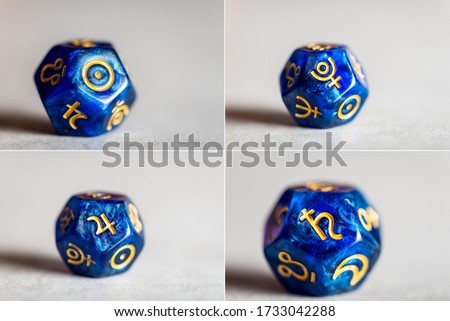 Astrology Dice with symbol of the planets the Sun, Jupiter, Pluto, Saturn #1733042288
