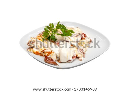 in the isolated background; local turkish food fry in white plate / kızartma #1733145989