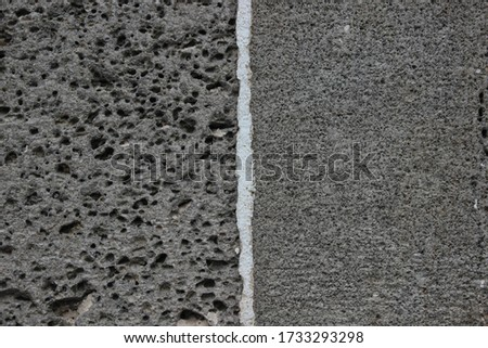 perforated basalt ( female basalt) and basalt without holes (male basalt) Royalty-Free Stock Photo #1733293298