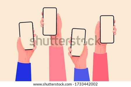 Flat vector hands with phones. Hands holding phones with empty screens mock up. Social media interaction. Social network communication on mobile app. Home office with your phone. Buy online easily. #1733442002