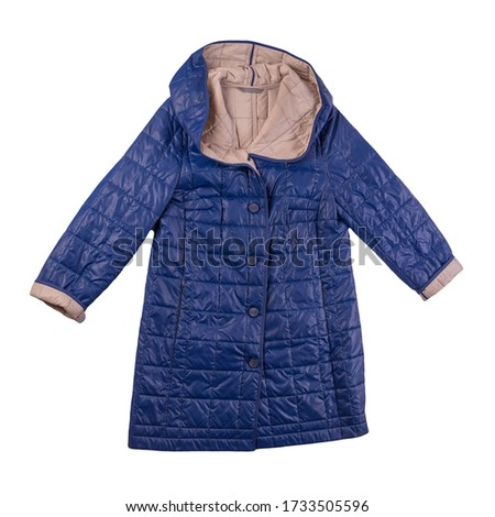 female blue beige coat with a hood Isolated on a white background. autumn women's coat not wet from the rain top view #1733505596