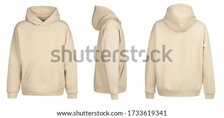 Beige hoodie template. Hoodie sweatshirt long sleeve with clipping path, hoody for design mockup for print, isolated on white background. Royalty-Free Stock Photo #1733619341