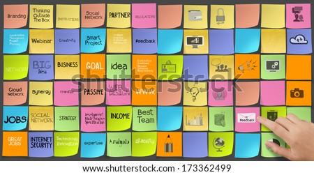 hand pushing words icons of business strategy on sticky note as concept