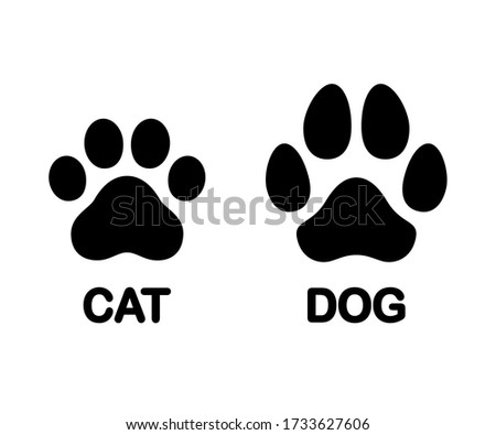 Dog and cat paw print symbol. Black and white silhouette icon or logo design element. Isolated clip art illustration.