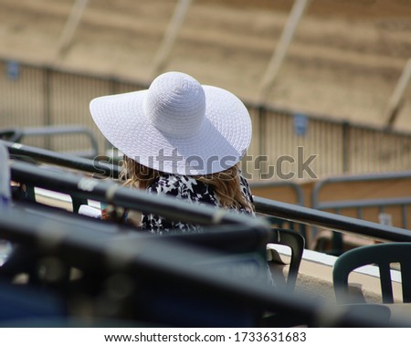 Picture from behind a woman with a derby hat at the races.