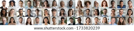 Many smiling multiethnic people faces headshots collage mosaic. Lot of young and old adult diverse ethnicity professional people group looking at camera. Horizontal banner for website header design #1733820239