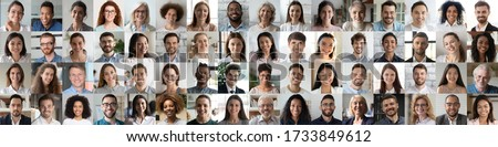 Multi ethnic people of different age looking at camera collage mosaic horizontal banner. Many lot of multiracial business people group smiling faces headshot portraits. Wide panoramic header design. #1733849612