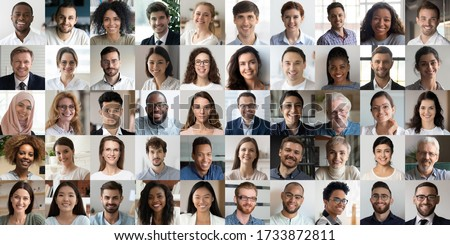 Many happy diverse ethnicity different young and old people group headshots in collage mosaic collection. Lot of smiling multicultural faces looking at camera. Human resource society database concept. Royalty-Free Stock Photo #1733872811