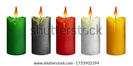 Bright big candles. Clip art kit on white background