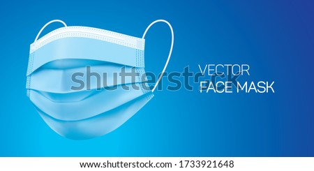 Surgical blue face mask, vector illustration. Virus protection medical mask, isolated on blue gradient background in a side view. Disease protective disposable mask with elastic ear loop band. #1733921648