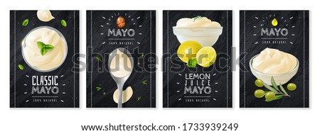 Mayonnaise spices and herbs vertical advertising Chalk Board banners with glass bowls and spoon. Smears and drops. Realistic style. Vector illustration Royalty-Free Stock Photo #1733939249