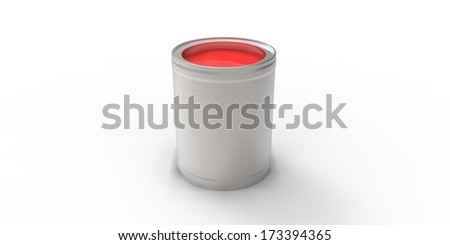 Gray can with red paint #173394365