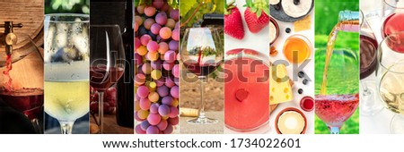 Wine Collage design template. A panorama of many photos of wine glasses, pouring wine, grapes at vineyards, tastings, a design for a winery banner or shop flyer #1734022601