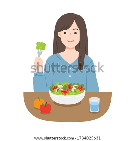 Young women eating salads. Diet food for life. Healthy foods with benefits. Healthy and vegan food concept. #1734025631