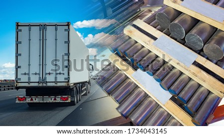 Automobile transportation of aluminum billets. Delivery of aluminum. Aluminum on pallets against the background of a truck. Transportation of non-ferrous metals. Freight traffic. #1734043145