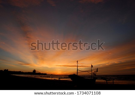 Boat in panjang beach Bengkulu Indonesia