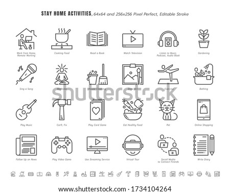 Simple Set of Stay Home Activities for Mental Health During Coronavirus, Covid-19 Crisis Related. Such as News Update, Cooking, Game. Line Outline Icons Vector. 64x64 Pixel Perfect. Editable Stroke. Royalty-Free Stock Photo #1734104264
