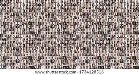 Hundreds of multiracial people crowd portraits headshots collection, collage mosaic. Many lot of multicultural different male and female smiling faces looking at camera. Diversity and society concept. #1734128516