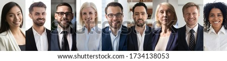 Multiethnic different young and old business people executives group headshots portraits collage. Happy diverse ethnicity professionals team faces montage. Horizontal banner for website header design