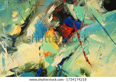 Hand drawn oil painting on canvas. Abstract art background. Color texture. Fragment of artwork. Brushstrokes and spots of paint. Modern, contemporary art. Colorful canvas. Royalty-Free Stock Photo #1734174218