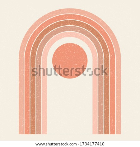Abstract contemporary aesthetic background with Sun and geometric rainbow gates. Terracotta colors. Boho wall decor. Mid century modern minimalist art print. Organic natural shape. Magic concept. #1734177410