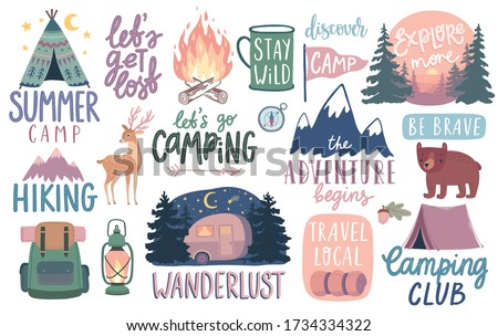 Camping, Hiking, Adventure letterings. Wild animals, fireplace, mountains, tents and other elements. Flat Vector illustration. Royalty-Free Stock Photo #1734334322
