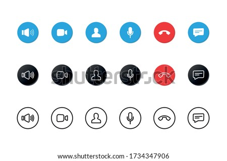 Set of Video call icons. Video conference. Collections buttons of on-line video chat app, internet talk, call technology. Web app ui display template. Videoconferencing and online meeting workspace #1734347906