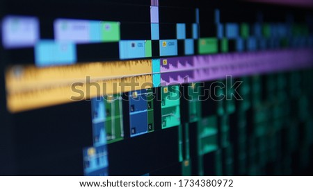 Video Editing close up view - Timeline View Royalty-Free Stock Photo #1734380972