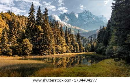 Amazing mountain scenery of summer. Awesome alpine highlands in sunny day. Scenic image of fairy-tale Landscape in sunlit with Majestic Rock Mountain on background. picture of Wild area.