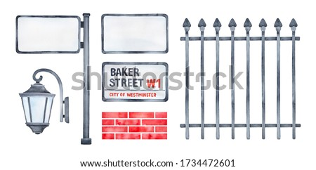 Watercolour illustration pack of various city details: sign board, signpost, street lantern, red brick wall texture, black metal fence. Hand painted graphic drawing, cutout clipart for design decor.