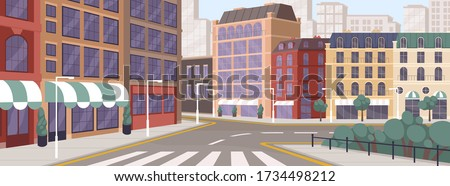 Colorful street of modern European city vector graphic illustration. Architecture building exterior of downtown panoramic view. Colored megapolis cityscape. Central district with house facade Royalty-Free Stock Photo #1734498212